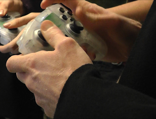 Ouya controllers being used to play at London Ouya MeetUp